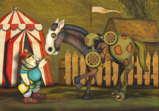 Steve Offers Sweets To Horse by ROLAND KOVÁCS
