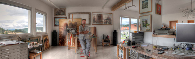 Peter Gric in his Studio
