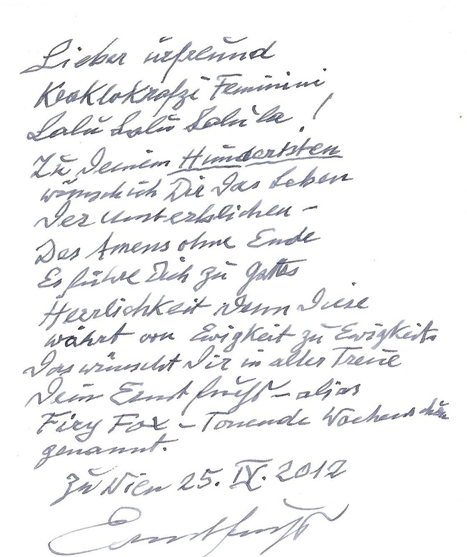 Birthday message from Ernst Fuchs to Fritz Janschka, 2012
