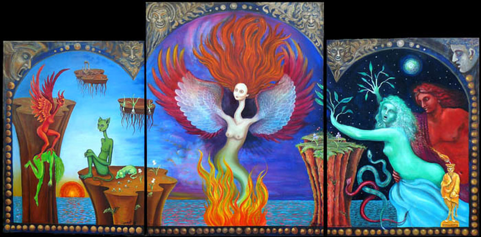 Paradise Reborn - triptych - 48 inches by 8 feet - by James Mesple and Karena A Karras - oil on canvas